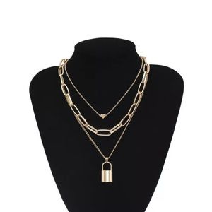 Gold Tone Chunky Lock Necklace